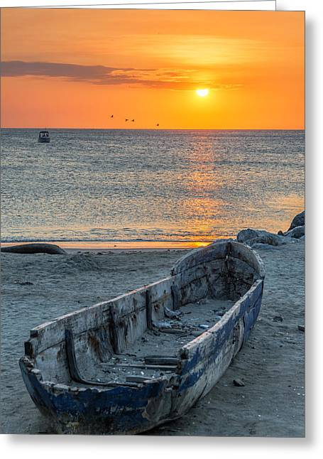 Recently Sold -  - Water Vessels Greeting Cards - Canoe and Sunset Greeting Card by Jess Kraft