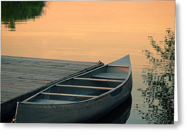 Canoe at a Dock at Sunset Greeting Card by Jill Battaglia