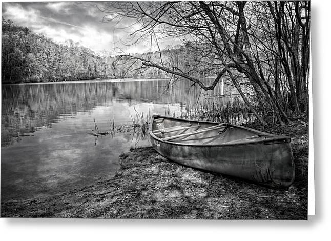 White River Scene Greeting Cards - Canoe at the Lake Black and White Greeting Card by Debra and Dave Vanderlaan