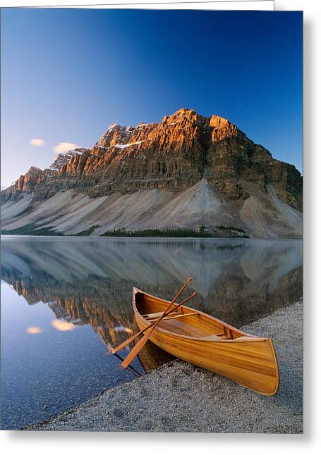 Geographical Locations Greeting Cards - Canoe At The Lakeside, Bow Lake Greeting Card by Panoramic Images