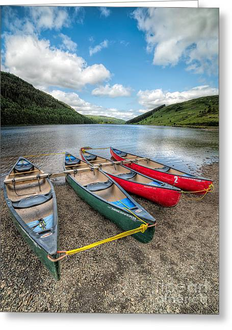 Green Canoe Greeting Cards - Canoe Break Greeting Card by Adrian Evans