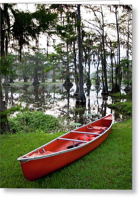 Canoe By Caddo Lake, Texas's Largest Greeting Card by Larry Ditto