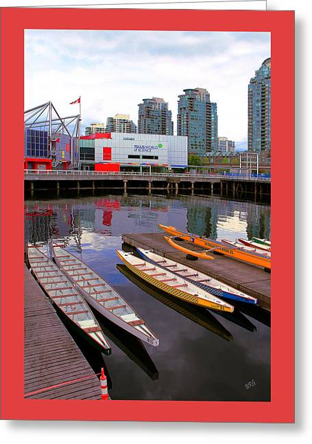 Telus Greeting Cards - Canoe Club And Telus World Of Science In Vancouver Greeting Card by Ben and Raisa Gertsberg