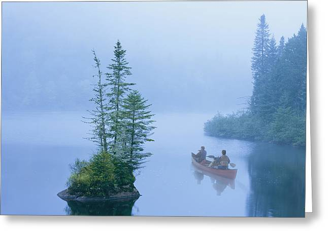 Citizens Greeting Cards - Canoe In The Mist On Jacques-cartier Greeting Card by Yves Marcoux