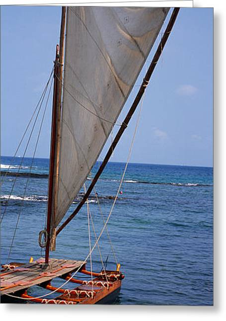 Canoe Photographs Greeting Cards - Canoe In The Sea, Honolulu, Puuhonua O Greeting Card by Panoramic Images