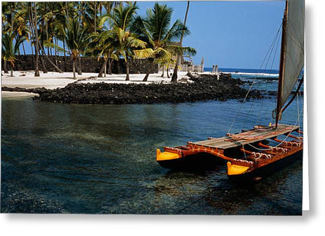 Canoe In The Sea, Honolulu,puuhonua O Greeting Card by Panoramic Images