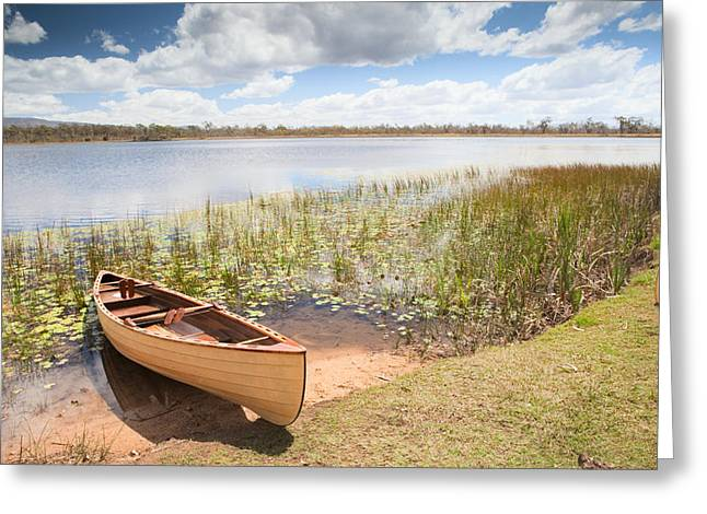 Canoe Greeting Cards - Canoe In Tropical Paradise Experience Freedom Greeting Card by Dirk Ercken