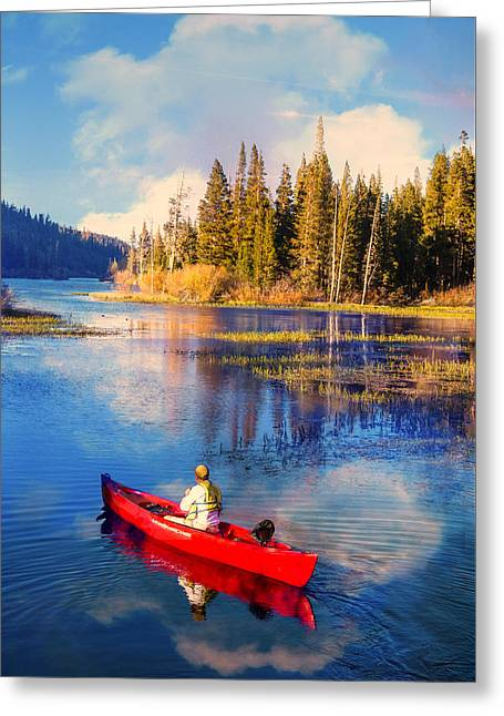 Canoe Greeting Cards - Canoe Into The Blue Greeting Card by Lynn Bauer