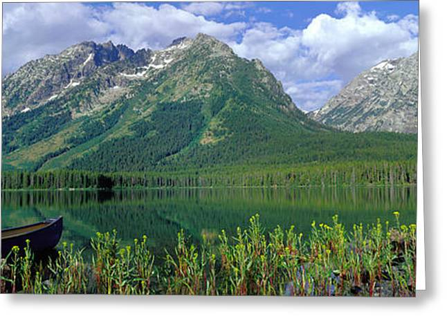 Canoe Leigh Lake Grand Teton National Greeting Card by Panoramic Images