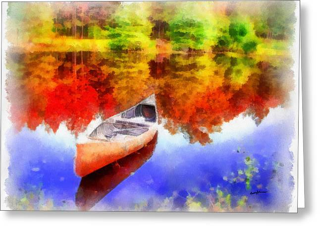 Anthony J. Caruso Greeting Cards - Canoe on Autumn Pond Greeting Card by Anthony Caruso