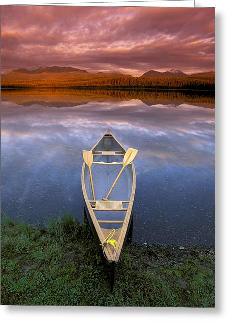 Canoe Photographs Greeting Cards - Canoe On Otter Lake Evening Light Greeting Card by Michael DeYoung