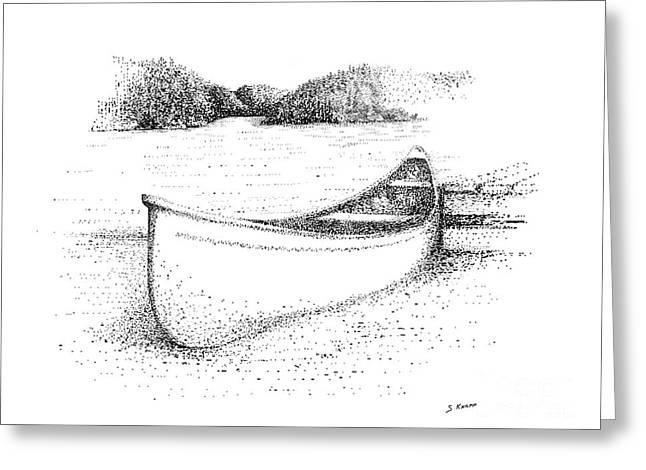 Canoe Drawings Greeting Cards - Canoe on the beach Greeting Card by Steve Knapp