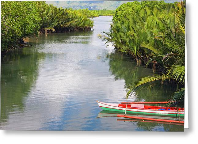 Canoe On The River, Bohol Island Greeting Card by Keren Su
