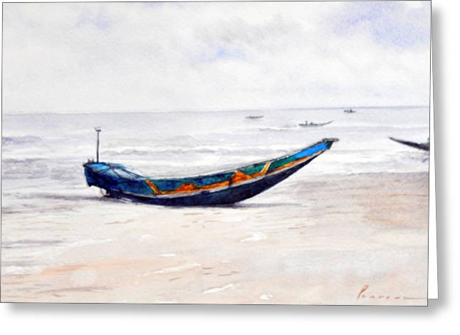 Canoe Paintings Greeting Cards - Canoe Greeting Card by Pravin Puthra