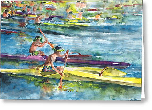 Festivities Paintings Greeting Cards - Canoe Race in Polynesia Greeting Card by Miki De Goodaboom