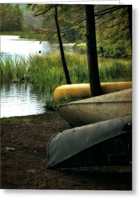 Ludington State Park Greeting Cards - Canoe Trio Greeting Card by Michelle Calkins