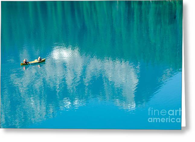 Canoe Photographs Greeting Cards - Canoeing in Lake Morraine Greeting Card by Oscar Gutierrez