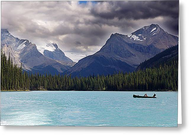 Canoeing In Paradise Greeting Card by Janet Ashworth