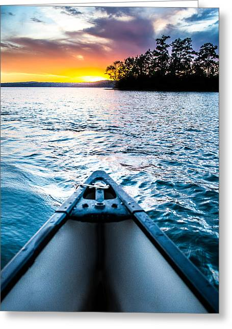 Tropical Island Greeting Cards - Canoeing in Paradise Greeting Card by Parker Cunningham