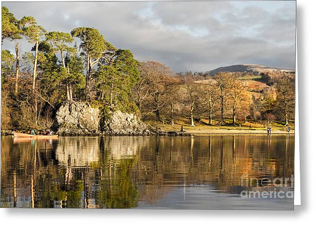Wainwright Greeting Cards - Canoeing on Lake Derwent Greeting Card by Linsey Williams