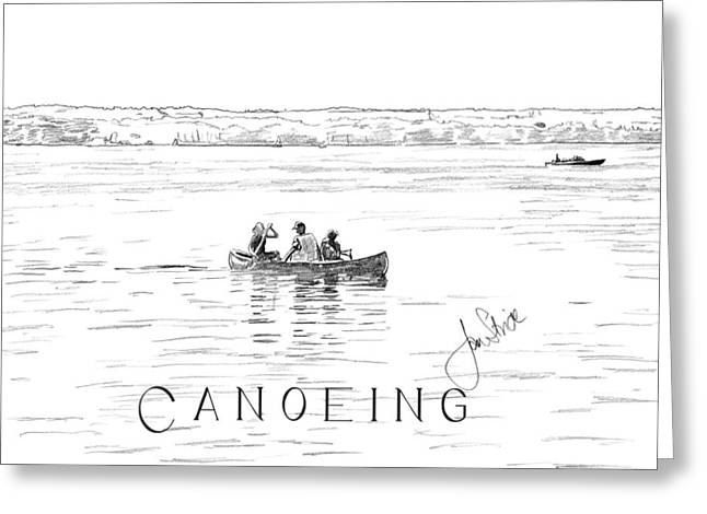 Canoe Drawings Greeting Cards - Canoeing on the Lake Greeting Card by Jan Stride
