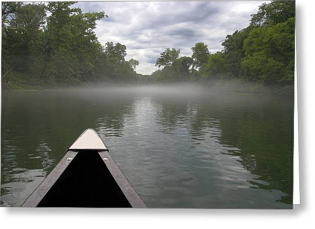 Fishing Creek Greeting Cards - Canoeing the Ozarks Greeting Card by Adam Romanowicz