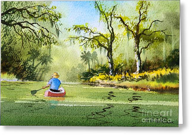 Canoeist Greeting Cards - Canoeing The Rivers Of Florida II Greeting Card by Bill Holkham
