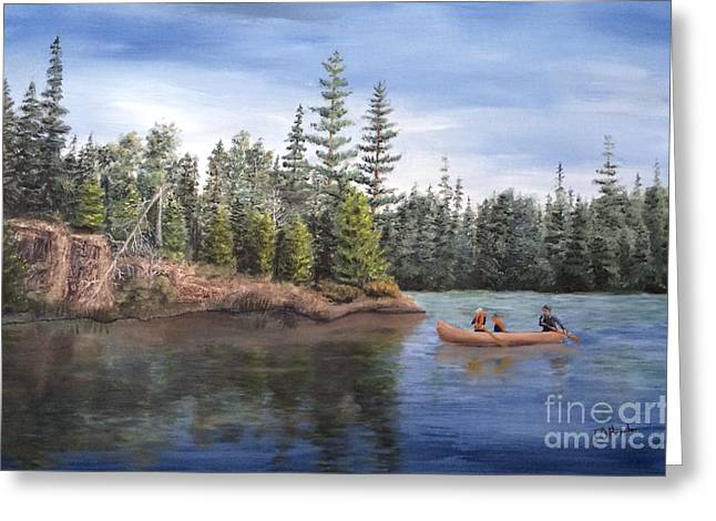 Boundary Waters Paintings Greeting Cards - Canoeing with Dad Greeting Card by J O Huppler
