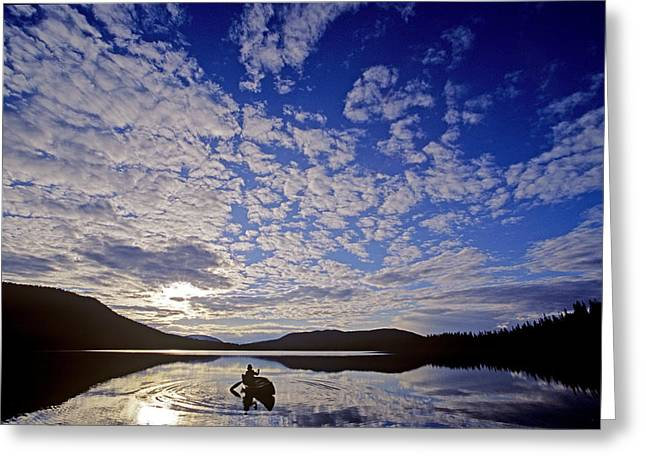 Reflections Of Sky In Water Greeting Cards - Canoeist And Cloudy Sky, Bowron Lake Greeting Card by Chris Harris