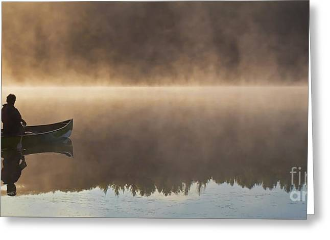 Canoeist On A Golden Misty Morning Greeting Card by Barbara McMahon