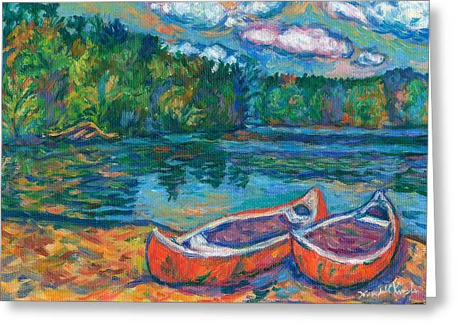 Canoe Paintings Greeting Cards - Canoes at Mountain Lake Sketch Greeting Card by Kendall Kessler