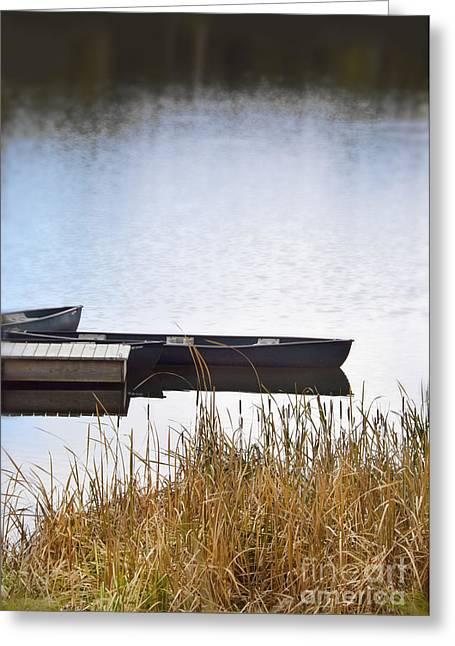 Canoe Greeting Cards - Canoes at the Dock Greeting Card by Jill Battaglia
