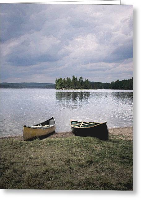 Canoe Greeting Cards - Canoes - Canisbay Lake Greeting Card by Richard Andrews
