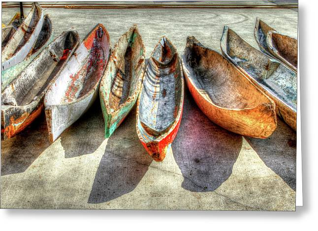 Boats At The Dock Greeting Cards - Canoes Greeting Card by Debra and Dave Vanderlaan