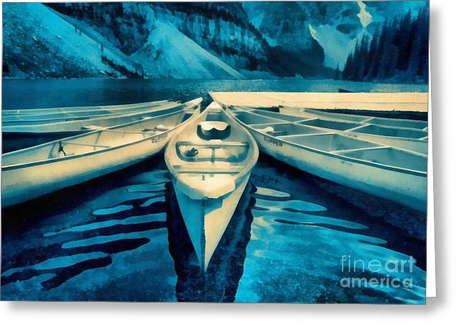 Alberta Landscape Greeting Cards - Canoes Greeting Card by Edward Fielding