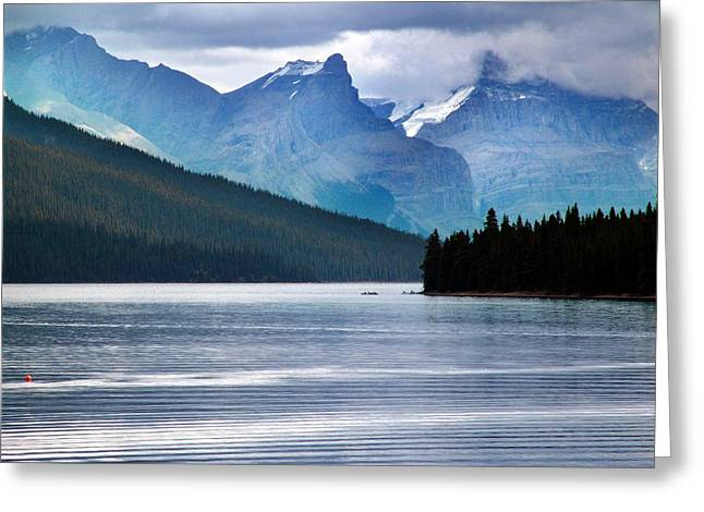Canoe Mixed Media Greeting Cards - Canoes on Lake Maligne Greeting Card by Janet Ashworth