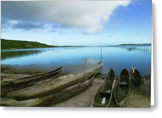 Canoes On The Beach, Antananarivo Greeting Card by Keren Su