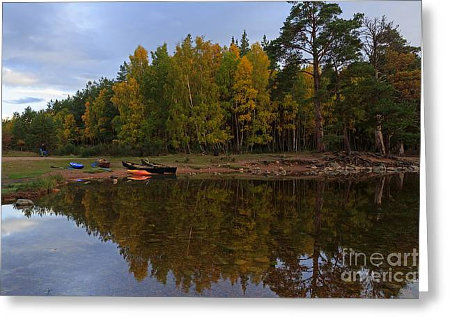 Canoe Photographs Greeting Cards - Canoes on the Shore at Loch An Eilein Greeting Card by Louise Heusinkveld
