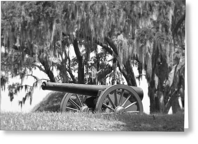 Civil War Site Greeting Cards - Canon at Fort McAllister Greeting Card by Linda Covino