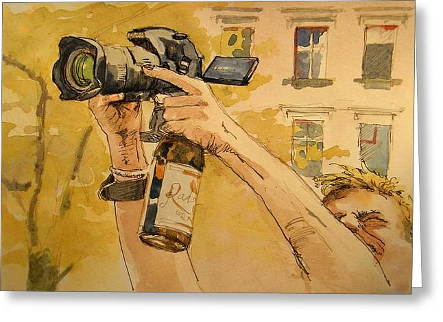 Bier Greeting Cards - Canon eos street Greeting Card by Juan  Bosco