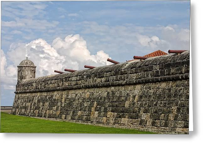 Castillo San Felipe Greeting Cards - Canon on Fortress Wall Greeting Card by Linda Phelps