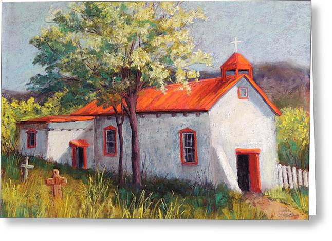 Southwest Pastels Greeting Cards - Canoncito Church Greeting Card by Candy Mayer
