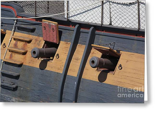 Historic Ship Greeting Cards - Canons of HMS Surprise Greeting Card by Chris Selby