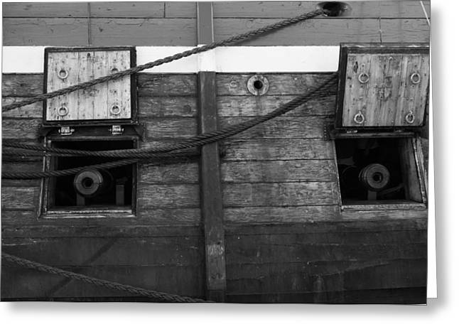 Wooden Ship Greeting Cards - Canons on a tall ship - monochrome Greeting Card by Intensivelight