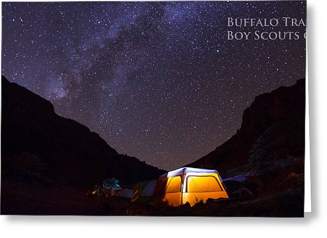 Summer Camps Greeting Cards - Canopy of Stars - Pano Greeting Card by Aaron S Bedell