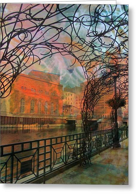 Riverwalk Digital Art Greeting Cards - Canopy Riverwalk and Abstract Painting Greeting Card by Anita Burgermeister