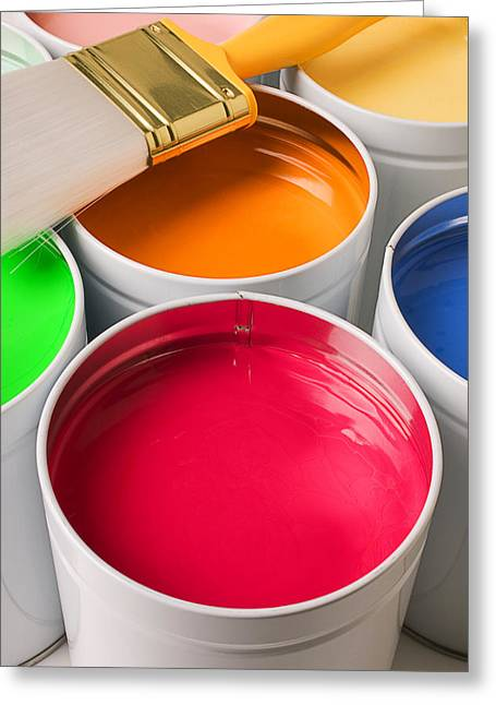 Paint Brush Greeting Cards - Cans of colored paint Greeting Card by Garry Gay