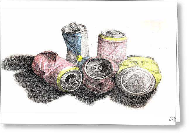 Cob Drawings Greeting Cards - Cans Sketch Greeting Card by Conor OBrien
