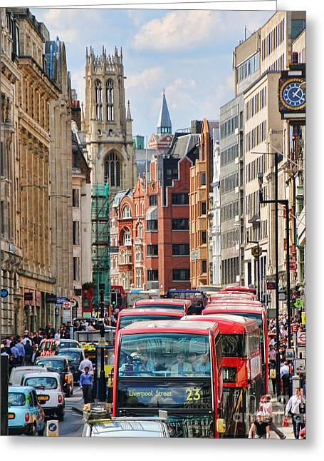 Double Decker Greeting Cards - Cant Find a Bus 5676 Greeting Card by Jack Schultz