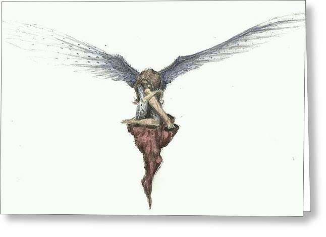 Angels Breath Greeting Cards - Cant Fly Greeting Card by Maci Fuhriman